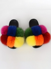 New Arrival Patchwork Fashion Colorful Fuzzy Slippers