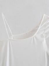 Pure Color Irregular Shoulder Bodycon Ladies Dress