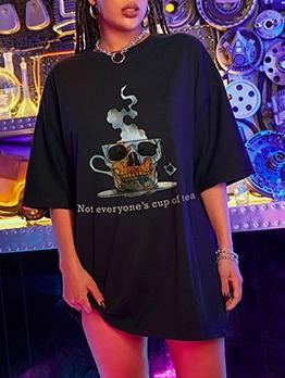 Street Skull Loose Short Sleeve T Shirt