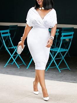 Graceful Solid V Neck Short Summer Dresses