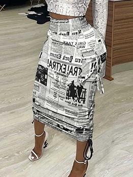 Camouflage Newspaper Print Stylish Skirt Women