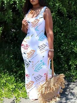 Letter Printed U Neck Sleeveless Maxi Dress Casual