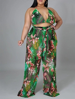 Sexy Print Camisole With Wide Leg Pants