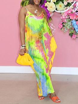 Casual Loose Fitting Tie Dye Sleeveless Maxi Dress