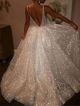 White Sequins V Neck Floor Length Evening Dresses