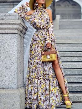 Vacation Long Sleeve Halter Printed Maxi Dresses