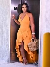 Euro Style Irregular Hem Sleeveless Maxi Dress