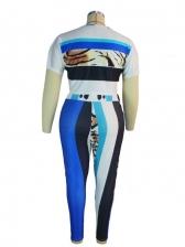 Fashion Casual Plus Size Two Pieces Trouser Set