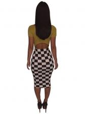 Fashion Plaid Sexy Nightclub Bodycon Dress