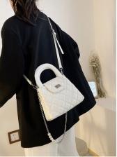 Faux Pearl RhombusPlaid Handbags For Girls