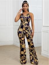 New Register Print Sleeveless Women Jumpsuit