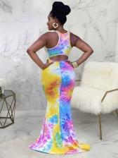 Sexy Tie Dye Sleeveless Maxi Dress