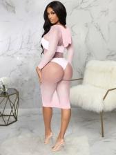 New Solid Sexy Gauze Long Sleeve Dress