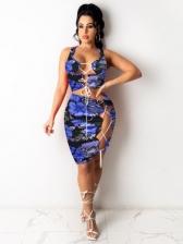 Popular Lace Up Print Skirt Sets