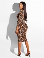 Fashion Zipper Up Leopard Long Sleeve Dresses Women