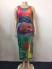 Color Block U Neck Printed Ladies Maxi Dress