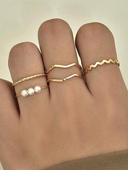 Korean Style Faux-Pearl Ring Sets Women