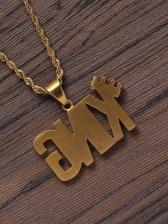 Letter King Rhinestone Pendant Necklace