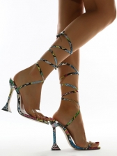 Sexy Snake Print Lace Up Heel Sandals