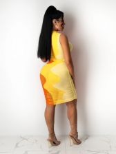 Sexy Multicolored Perspective Sleeveless Short Dress