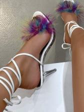 Trendy Fur Decor High Heel Lace Up Sandals