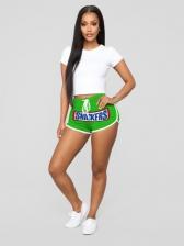Casual Printed Drawstring Short Pants For Women