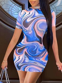 Unique O Neck Bodycon Printed Dress For Women