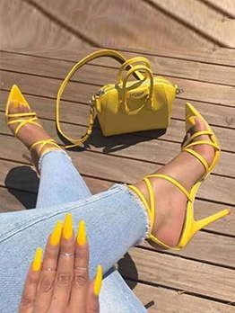 Pure Color Latest Style Women Heeled Sandals