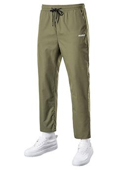 Leisure Pure Color Straight Mens Drawstring Pants