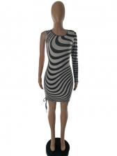 One Sleeve Animal Print Bodycon Dress