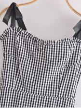 Vintage French Style Plaid Camisole Midi Dresses
