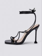 Summer Latest Style Black Versatile Heeled Sandals