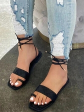 Latest Style Solid Square Toe Women Flat Sandals