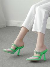 Fashion Rhinestone Pointed Toe Heeled Slippers
