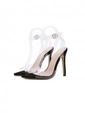 Trendy Transparent Pointed Stiletto Heeled Sandals