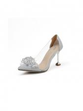 Latest Style Rhinestone Beads Slip On Heels Shoes