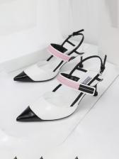 Street Contrast Color Women Heeled Sandals