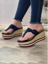 New Wedge Heels Contrast Color Slippers