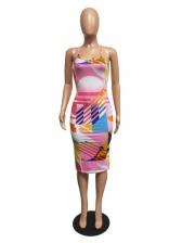 New Print Backless Sleeveless Sexy Dress
