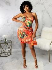 Summer Sleeve Printed Backless Beach Camisole Ladies Dress
