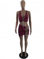 Sexy Leopard Backless Tie-Wrap Two Tank Bikini Sets