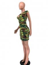 Chic Short Sleeve Camouflage Printed V Neck Dress