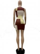 Contrast Color Patchwork U Neck Sleeveless Dress