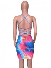 Sexy Tie Dye Backless Mini Camisole Dress Women
