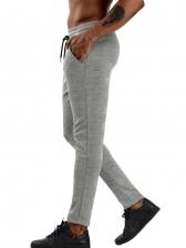 Simple Design Drawstring Long Pants For Men