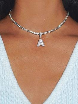 Simple Rhinestone Letter Pendant Necklace Women