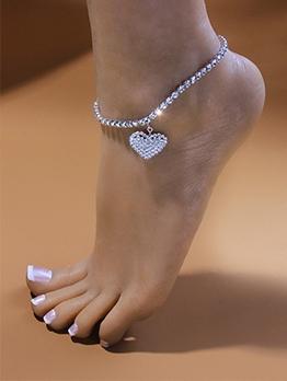 Heart Rhinestone Western Style Anklet