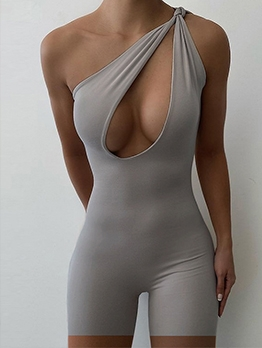 Seductive Hollow Out Solid One Shoulder Romper