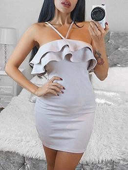 Sexy Ruffle Solid Bodycon Mini Dress