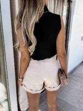 Summer Simple Solid Sleeveless Women Top